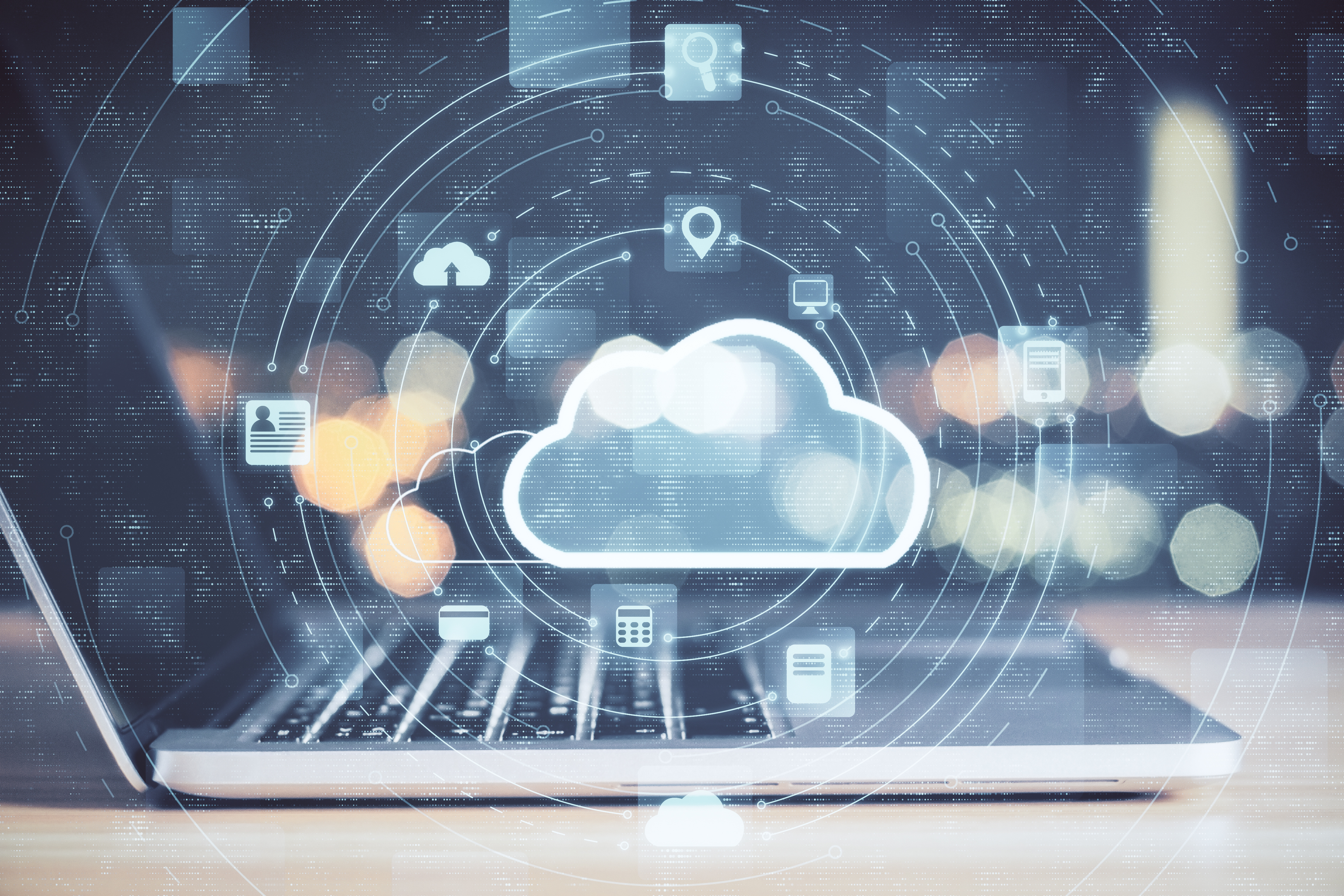 Laptop with cloud computing diagram. Cloud computing and communication concept.