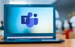 POZNAN, POL - APR 24, 2020: Laptop computer displaying logo of Microsoft Teams, a unified communication and collaboration platform