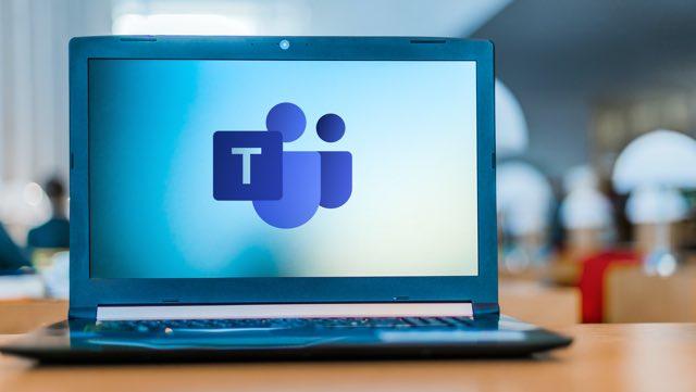 POZNAN, POL - APR 24, 2020: Laptop computer displaying logo of Microsoft Teams, a unified communication and collaboration platform