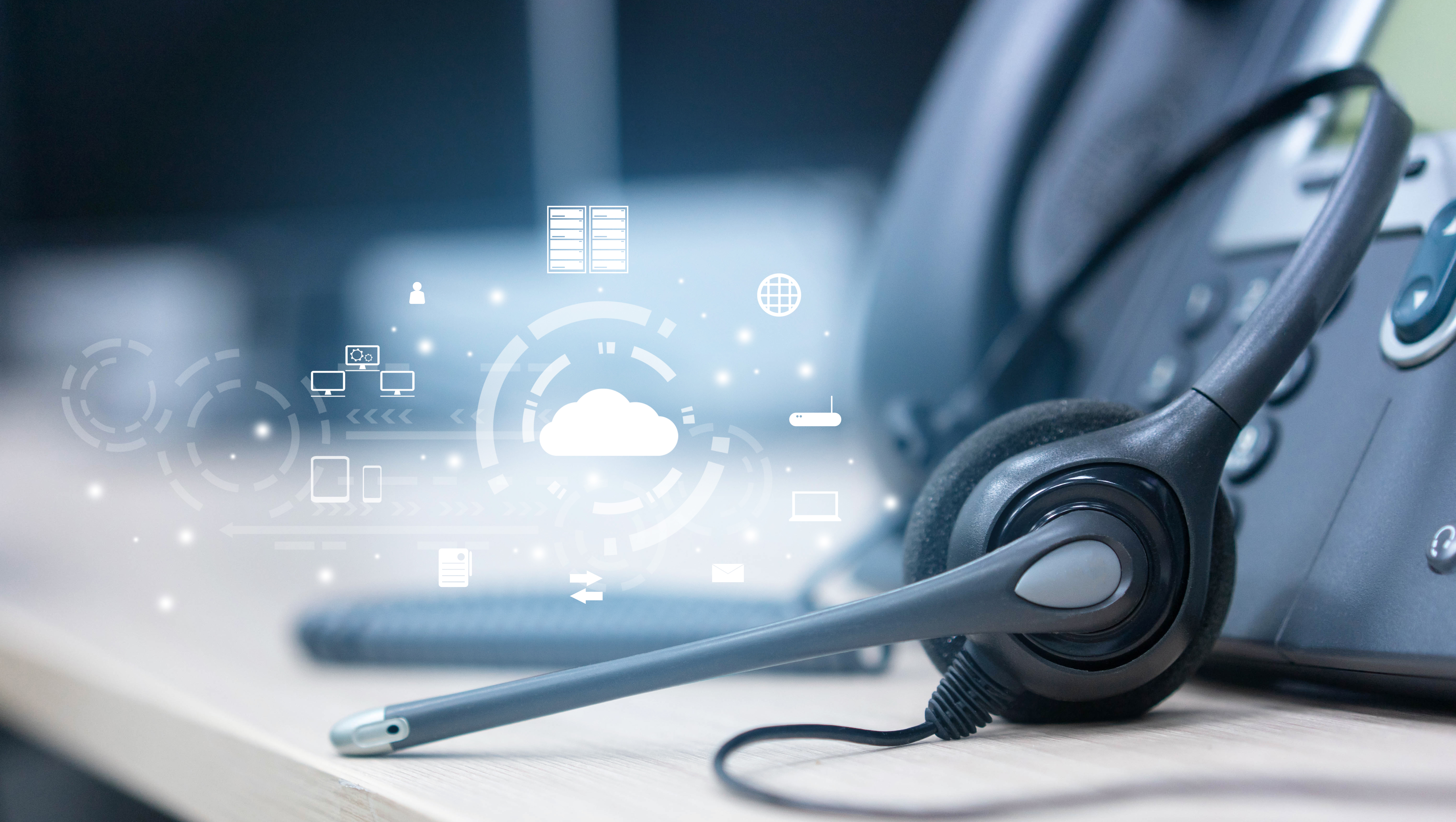 close up on headset telephone with cloud data center to synchronize on SaaS host server to working on system for futuristic technology and business marketing concept